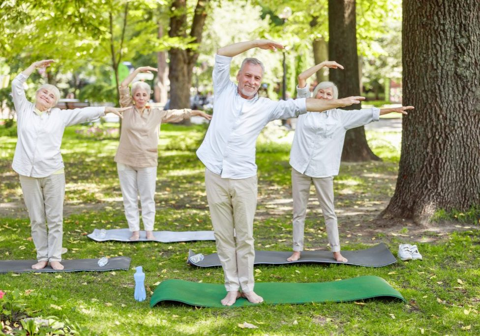 Happy old people practicing chi kung outdoors stock photo